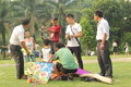 Make kites in the park in China ,Asia Royalty Free Stock Photo
