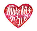 Make love not war, label. Decorative lettering, calligraphy in shape of heart. Hippie, pacifism symbol. Vector Royalty Free Stock Photo