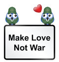 Make love not war sign isolated on white background Stock Photo