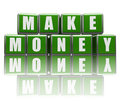 Make money in green cubes Royalty Free Stock Images