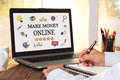 Make Money Online Concept On Laptop Monitor Royalty Free Stock Photo