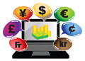 Make money online concept vector illustration of a laptop showing on its screen and many colorful speech bubbles with currency Stock Images