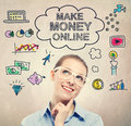Make Money Online idea sketch with young business woman Royalty Free Stock Photo