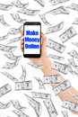 Make money online, message on smartphone with flying money Royalty Free Stock Photo