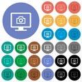 Make screenshot round flat multi colored icons Royalty Free Stock Photo