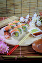 The make sushi roll at  home simple Royalty Free Stock Photo
