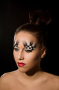 Make up art in the form of chessboard professional studio portrait on black background Stock Photos
