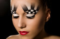 Make up art in the form of chessboard professional studio portrait on black background Royalty Free Stock Photography