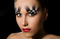 Make up art in the form of chessboard professional studio portrait on black background Royalty Free Stock Photos