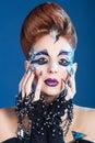 Make up art, long nails, new idea Royalty Free Stock Photo