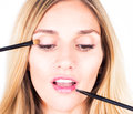 Make-up artist applying shadows and shine with cosmetic brushes. Close up. Royalty Free Stock Photo