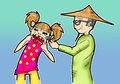 Make up artist and disobedient little girl illustration of Stock Image