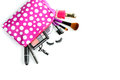 Make up bag and brushes isolated on white with cosmetics Royalty Free Stock Photo