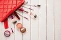 Make up bag with cosmetics beautiful Stock Photo