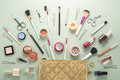 Make up bag with cosmetics beautiful Stock Images