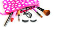 Make up bag with cosmetics and brushes isolated on white Royalty Free Stock Images