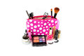 Make up bag with cosmetics and brushes isolated on white Royalty Free Stock Photos