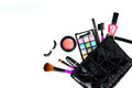 Make up bag with cosmetics and brushes isolated on white background Royalty Free Stock Image