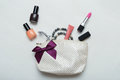 Make up bag with cosmetics and brushes on wooden background white Stock Image
