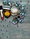 Make up bag and set of professional decorative cosmetics, makeup tools and accessory on background. beauty, fashion and shopping c Royalty Free Stock Photo