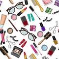 Make up and beauty items seamless pattern