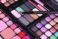 Make up brush on make-up eyeshadows set Stock Photography