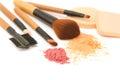 Make-up brush set and facial  powder Royalty Free Stock Photo