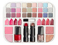 Make-up collection with lipstick and blush palette Royalty Free Stock Images