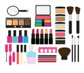 Make up collection a set of makeup related items Royalty Free Stock Photography