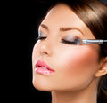 Make-up. Eye shadow brush Royalty Free Stock Photo