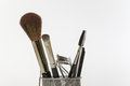 Make up and grooming tools and brushes close of some feminine Royalty Free Stock Images