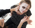 Make up halloween girls making face Royalty Free Stock Photo
