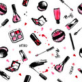 Make Up Hand drawn seamless pattern. fashion style cosmetics with nail polish, lipstick, mascara, brush, lip gloss. Pink