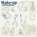 Make-up object lineart on notebook paper  Stock Photos