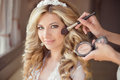 Make up rouge. Healthy hair. beautiful smiling bride wedding por Royalty Free Stock Photo