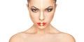 Make up weihnachten das face creative des schönen mädchens über weißem hintergrund Lizenzfreies Stockbild