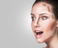 Make up woman face contour and highlight makeup professional contouring sample Royalty Free Stock Images