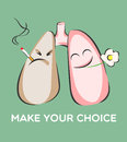 Make your choice poster. Smoking and healthy lungs. Danger of smoke. Positive and negative characters. Vector illustration