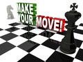 Make your move words with chess elements concept of strategy and business decisions Stock Photo