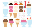 Make your own ice cream design a set of designs including a way to Stock Images