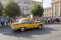 Makeevka ukraine august retro cars patrol car since the soviet union at parade during celebration of city day Stock Image