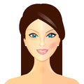 Makeover illustration of woman before and after makeup vector Stock Photo
