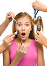 Makeover process of a young teen girl Royalty Free Stock Photo