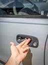 Makeshift car door handle fix Royalty Free Stock Photo