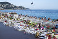 Makeshift memorials along the Promenade des Anglais in Nice Royalty Free Stock Photo