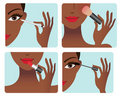 Makeup application process Royalty Free Stock Images