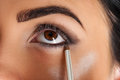 Makeup artist eyeliner Royalty Free Stock Photo