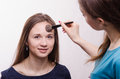 Makeup artist gets fluffy powder brush on forehead model applies the face of a beautiful young girl in the Royalty Free Stock Photography