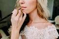 Makeup artist makes young beautiful bride bridal makeup. Morning preparation. Close-up hands near face Royalty Free Stock Photo