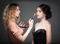 Makeup artist paints the face of a woman Royalty Free Stock Photo